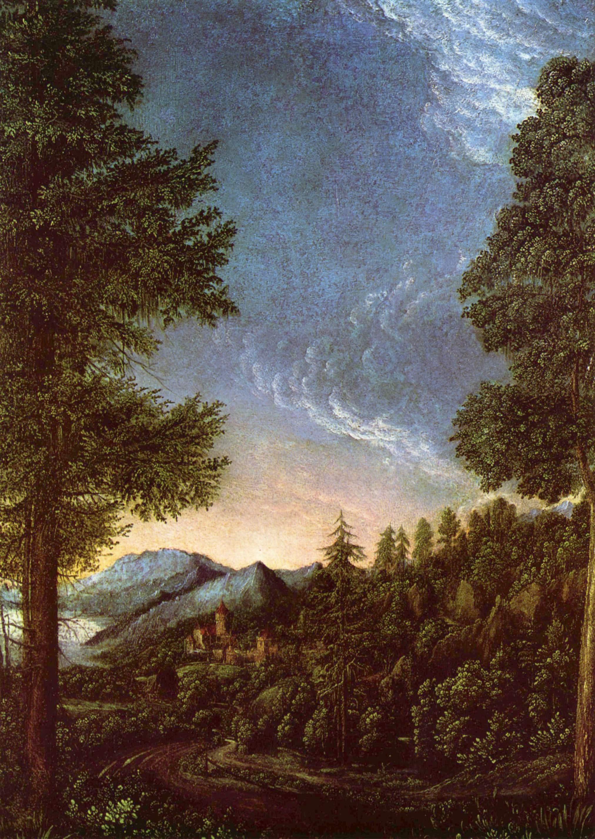 Danubelandscape nearRegensburg with Scheuchenberg, 1528