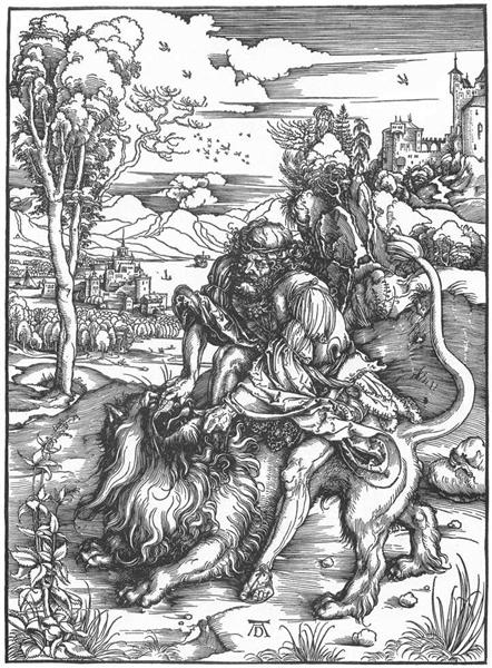 Samson slaying the lion, c.1498 - Albrecht Durer