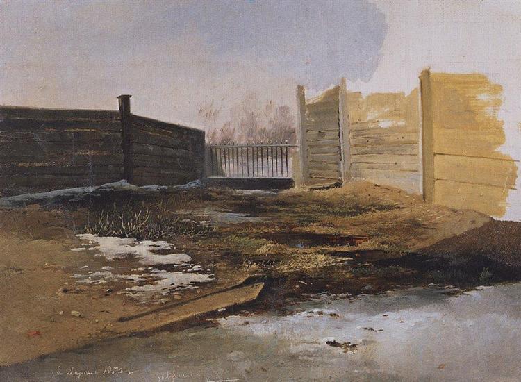 Courtyard.Spring., 1853 - Alexei Kondratjewitsch Sawrassow