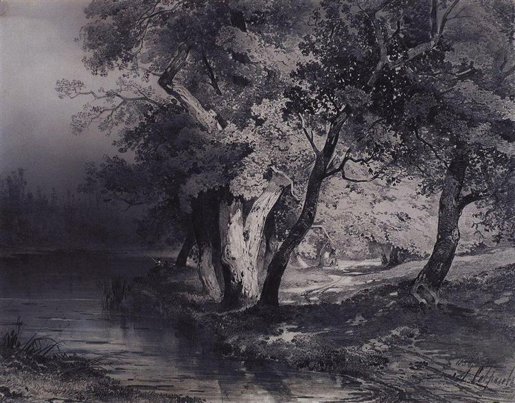 Forest near the lake, illuminated by the sun, 1856 - Aleksey Savrasov