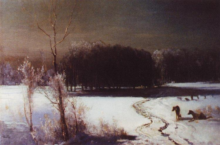 Landscape with wolves - Aleksey Savrasov