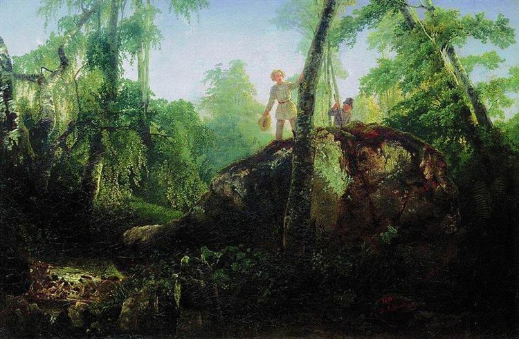 Stone in the forest near the spill, 1850 - Alexei Kondratjewitsch Sawrassow