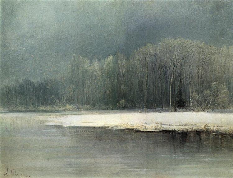 Winter landscape.Rime, c.1870 - Aleksey Savrasov