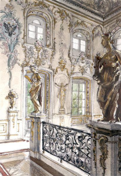 Peterhof Palace. Merchant staircase at the Grand Palace, 1900 - Alexandre Benois