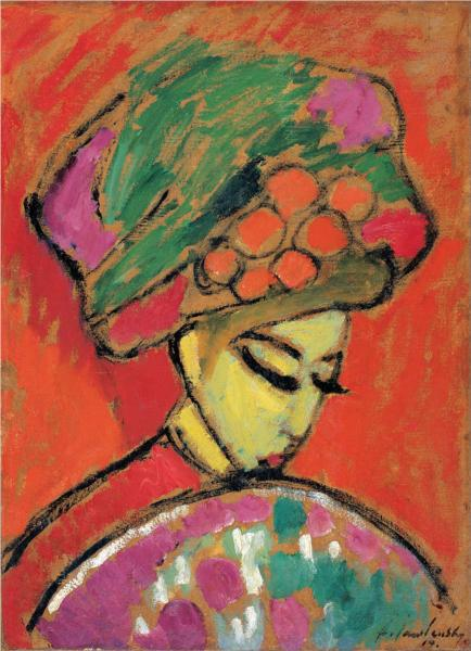 Young Girl with a flowered hat - Alexej von Jawlensky