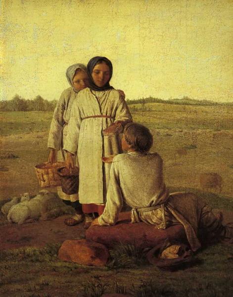 Los niños campesino en el campo - Venetsianov Alexey