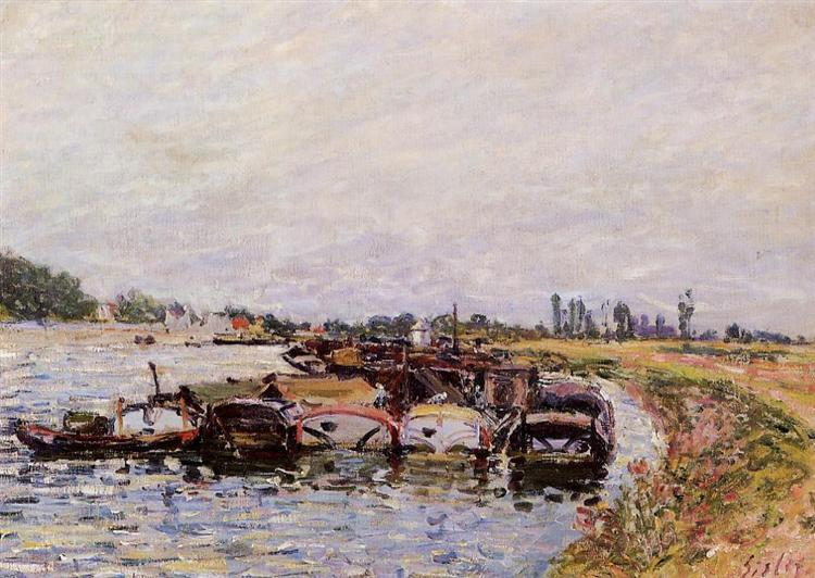 Barge Garage at Saint Mammes, 1885 - Alfred Sisley