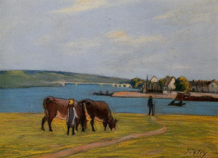 Cows by the Seine at Saint Mammes, c.1895 - Alfred Sisley