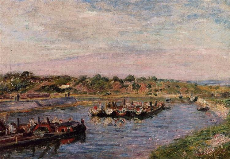 Idle Barges on the Loing Canal at Saint Mammes, 1885 - Alfred Sisley