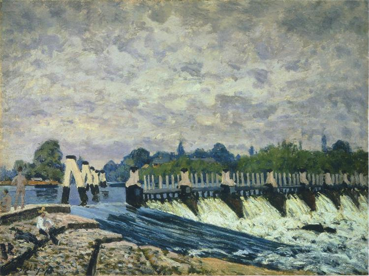 Molesey Weir at Hampton Court Morning - Alfred Sisley
