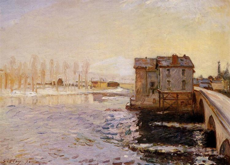 The Moret Bridge and Mills under Snow, 1890 - Alfred Sisley
