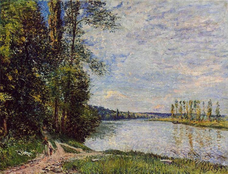 The Path from Veneux to Thomery along the Water, Evening, 1880 - Альфред Сислей