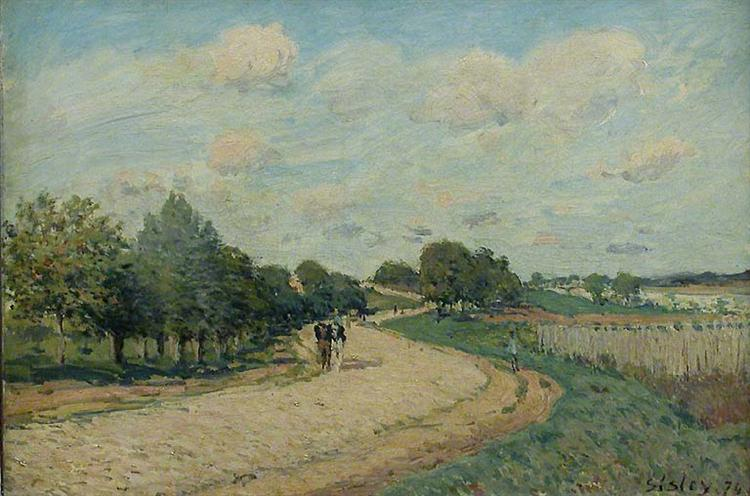 The Route to Mantes, 1874 - Альфред Сислей