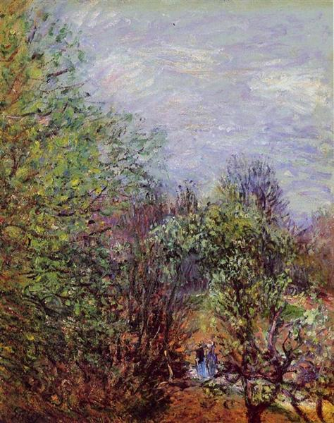 Two Women Walking along the riverbank, 1880 - 1885 - Alfred Sisley
