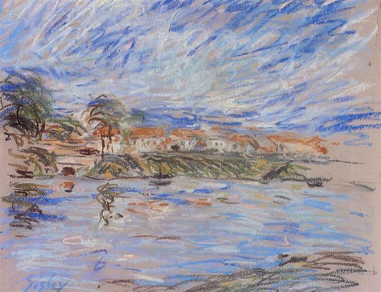 View of a Village by a River, 1888 - 1892 - Alfred Sisley