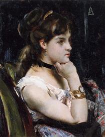 Woman Wearing a Bracelet - Alfred Stevens