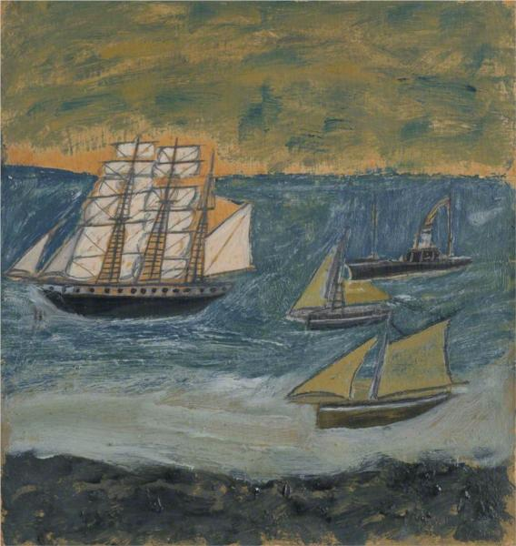 Three-Masted Barque with Three Small Ships - Alfred Wallis