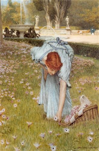 Flora Spring in the Gardens of the Villa Borghese - Sir Lawrence Alma-Tadema