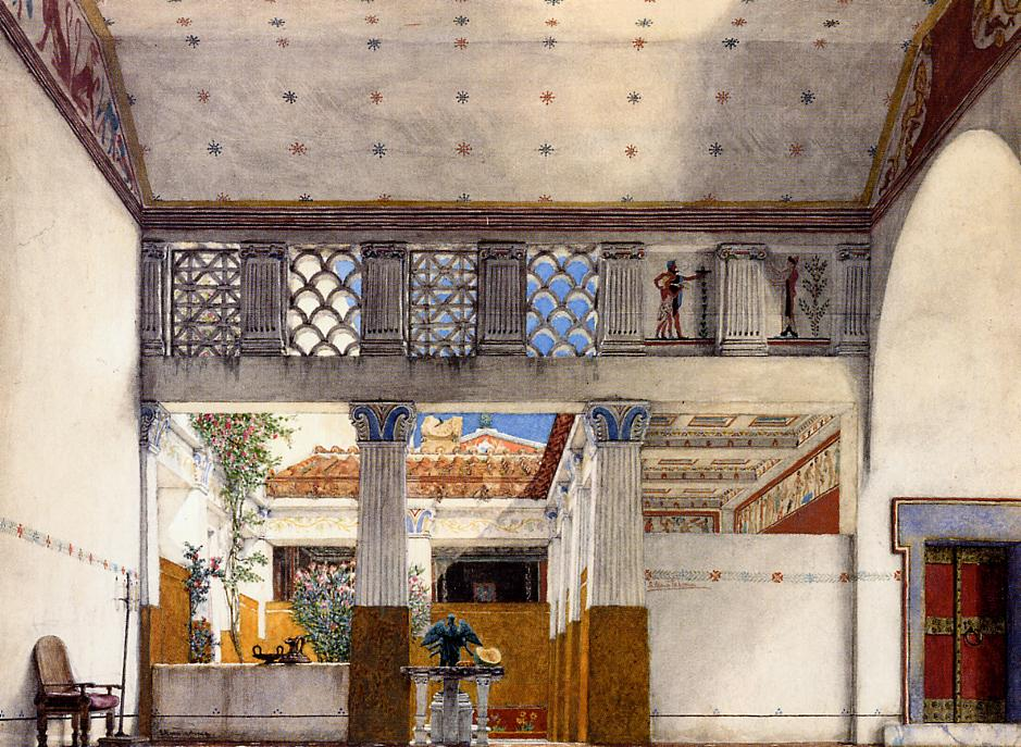 Interior of caius martius house 1907 sir lawrence alma for Ancient roman interior decoration