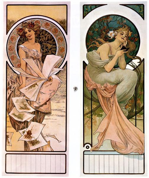 Calendar Champagne, 1897 - Alphonse Mucha