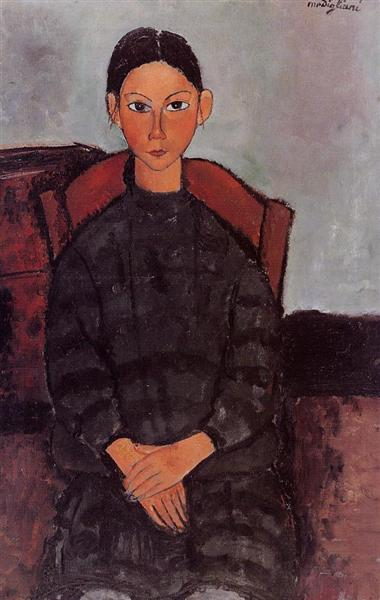 A Young Girl with a Black Overall, 1918 - Amedeo Modigliani