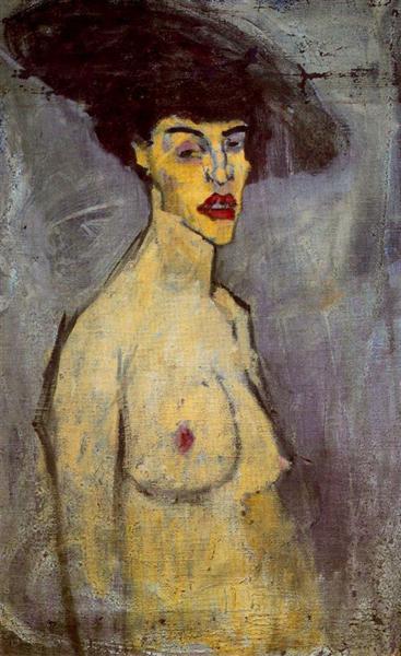 Female nude with Hat, c.1908 - Amedeo Modigliani