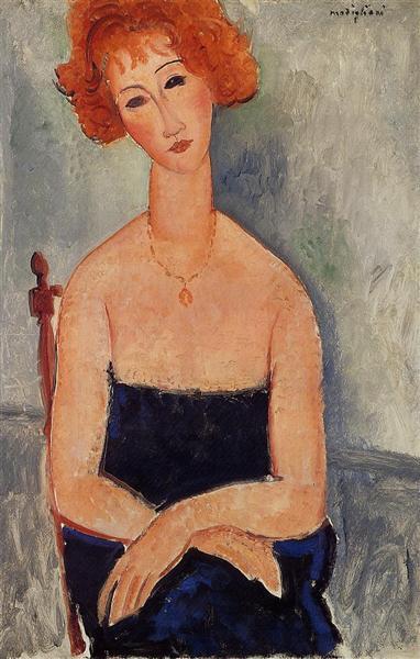 Redheaded woman wearing a pendant, 1918 - Amedeo Modigliani