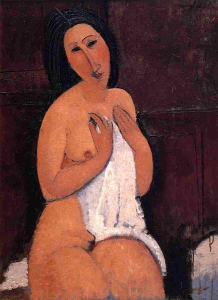 Seated nude with a Shirt, 1917 - Amedeo Modigliani