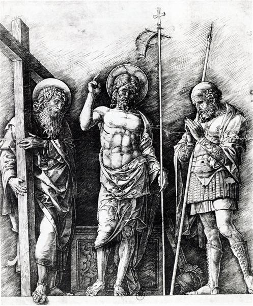 The resurrected Christ between St. Andrew and Longinus, 1475 - Andrea Mantegna
