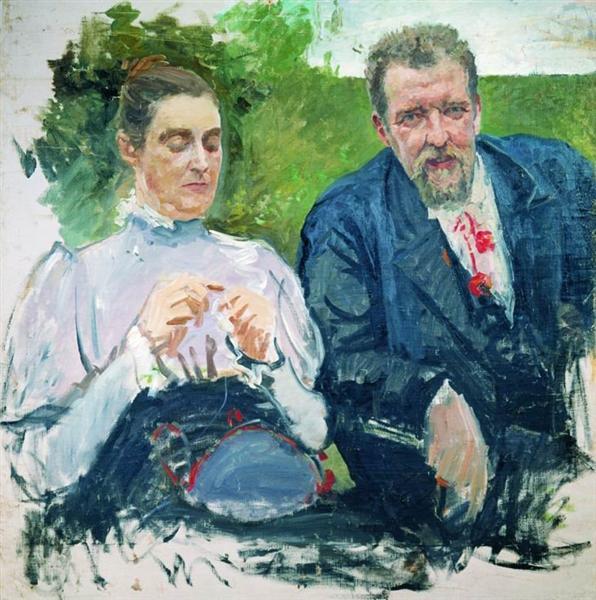 Portrait of I. F. Tyumenev with his wife, c.1890 - Андрей Рябушкин