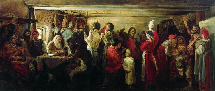 Village Wedding in the Tambov Province, 1880 - Andrei Petrowitsch Rjabuschkin