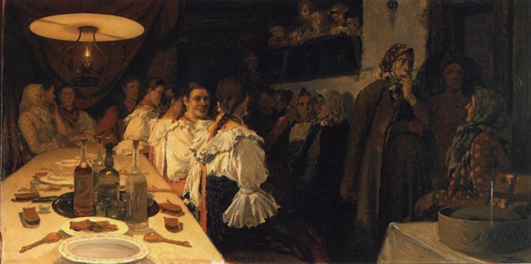 Waiting for Bridal Couple's Return from a Church in Novgorod Province, 1890 - 1891 - Андрей Рябушкин