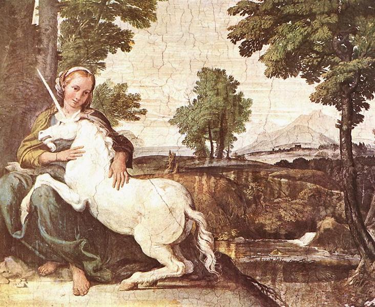 Virgin and Unicorn (A Virgin with a Unicorn) - Carracci Annibale