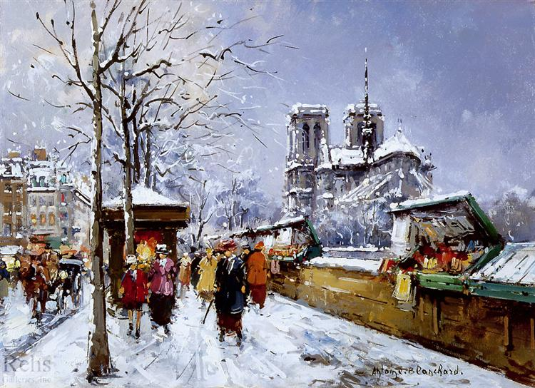 Booksellers Notre Dame, Winter - Antoine Blanchard