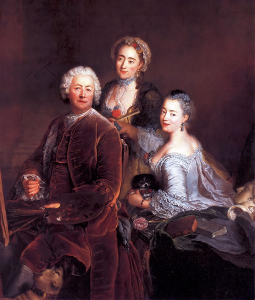 Self-portrait with Daughters, 1754 - Antoine Pesne