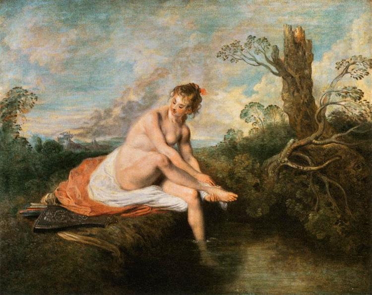 Diana at her Bath - Антуан Ватто