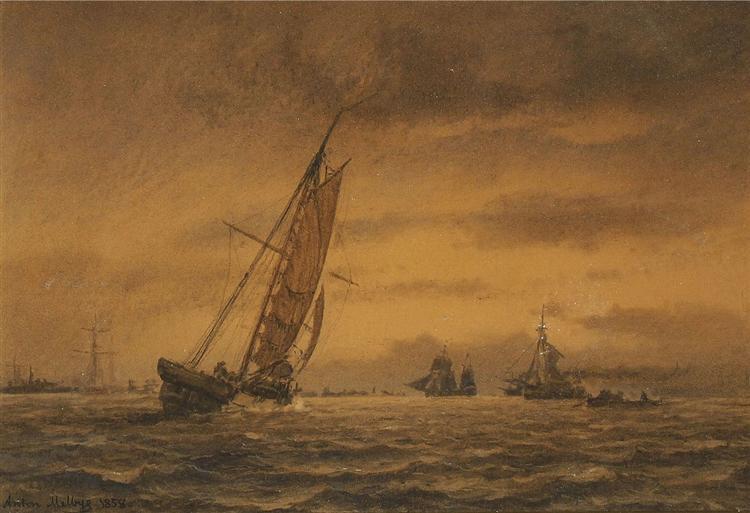 Numerous sailing ships at sea, 1858 - Антон Мельбі