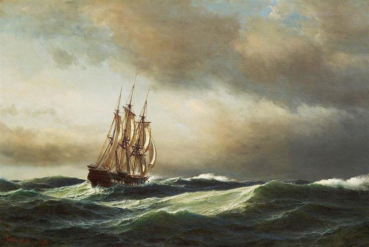 Vista do Adriático, 1864 - Anton Melbye
