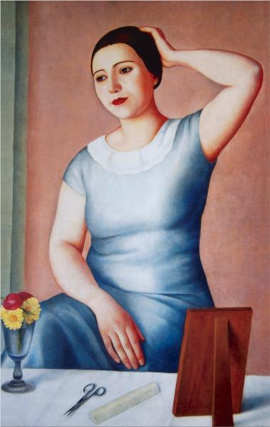 Woman making herself up - Antonio Donghi