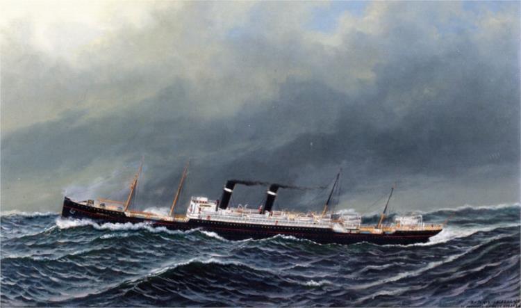The Dutch Steamer Vaderland on a Choppy Sea, 1909 - Антонио Якобсен