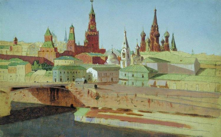 View of the Moskvoretsky Bridge, the Kremlin and the Pokrovsky Cathedral, 1882 - Arkhip Kuindzhi