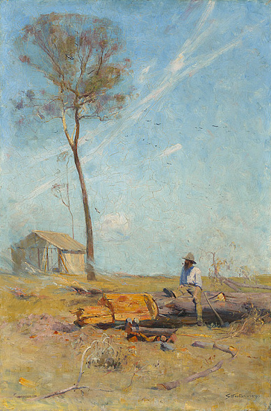 The Selector's Hut (Whelan on the Log), 1890 - Arthur Streeton