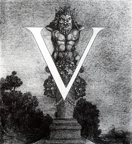 Design of Initial V - Aubrey Beardsley
