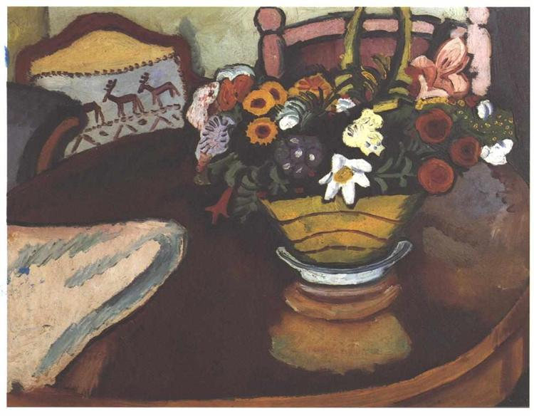 Still life with pillow with deer décor and a bouquet, 1911 - Август Маке