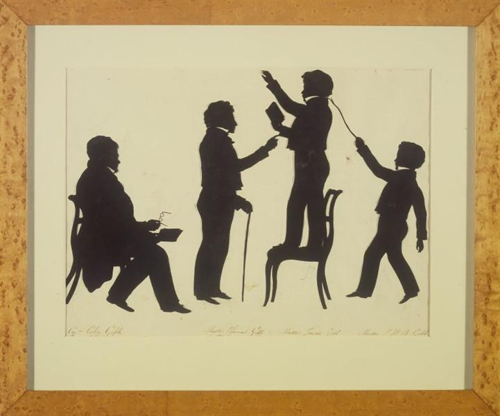 Cut Silhouette of Four Full Figures, 1830 - Auguste Edouart