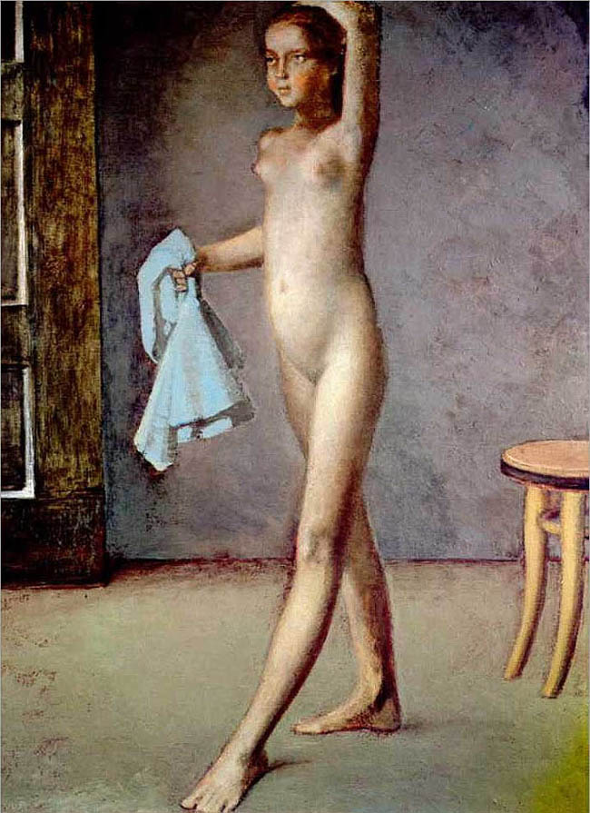 Nude with a Silk Scarf - Balthus. Artist: Balthus. Completion Date: c.1982