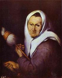 Old Woman with Distaff - Bartolomé Esteban Murillo