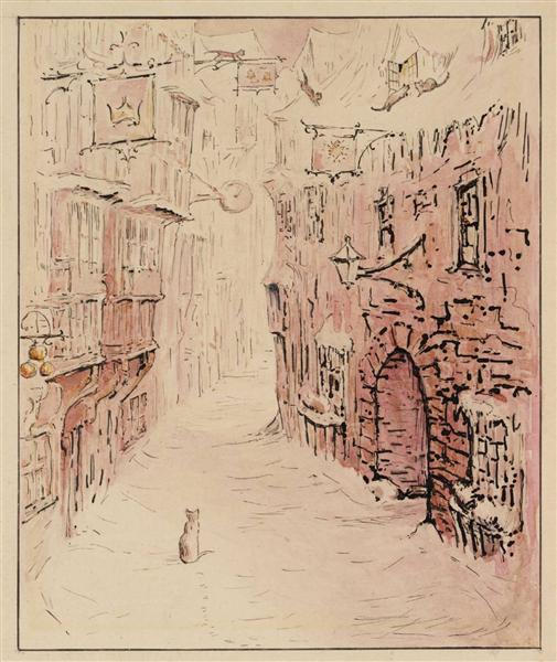 Simpkin in the Snowy Street, 1902 - Beatrix Potter