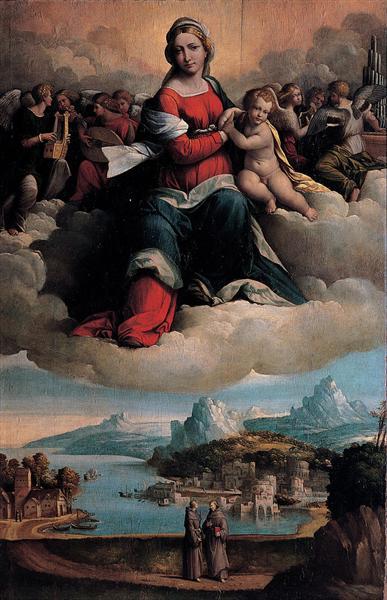 Virgen con el Niño en gloria y Sagrados - Benvenuto Tisi
