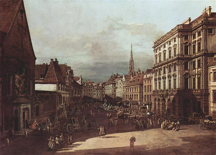 View of Vienna, flour market of Southwest seen from northeast, 1760 - Bernardo Bellotto